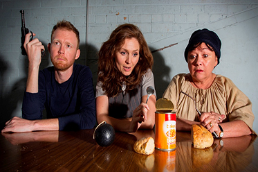 Johann Walraven, Jodine Muir and Jeannie Gee - Dying For It - New Theatre. Photograph (c) Bob Seary