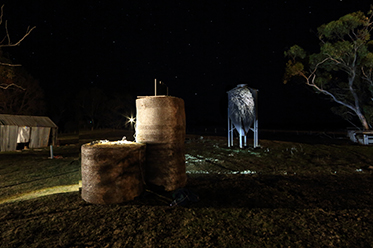 Some still cry when it rains. Image credit - Robbie Rowlands, Silo projection – Wright farm Yuengroon