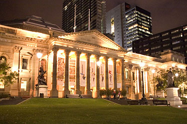 State Library Victoria at night