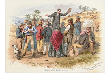 Sunday Camp Meeting, Forest Creek, 1869, watercolour. State Library Victoria_editorial