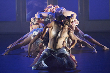 Kyle Shilling with Bangarra ensemble photo by Edward Mulvihill