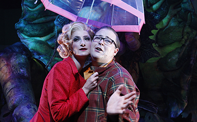 Esther Hannaford and Brent Hill in Little Shop of Horrors photo by Jeff Busby tour editorial