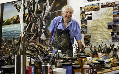 Jan Senbergs in his studio 2015 photo by Predrag Cancar NGV Photographic Services