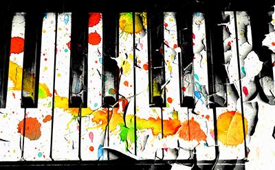 Paint splattered piano