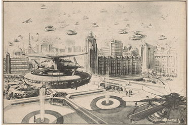 SLV Peak Hour, 1970; A vision of future Melbourne by CF Beauvais in 1943