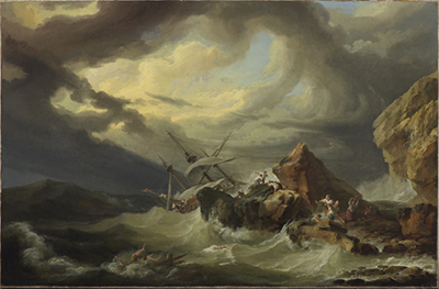 TMAG Philippe Jacques de Loutherbourg A shipwreck off a rocky coast 1760s