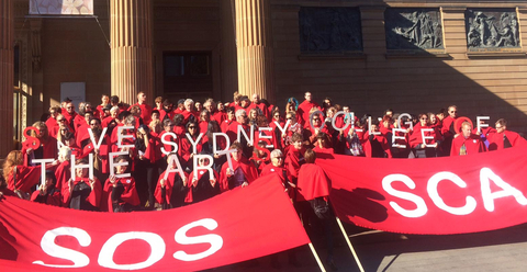 A protest against the SCA closure outside the Art Gallery of New South Wales