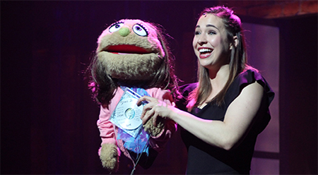 Avenue Q Sophie Wright with Kate Monster