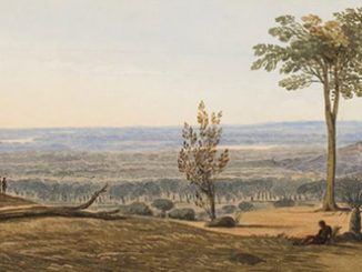Frederick Garling View across the coastal plain 1827 watercolour and pencil on paper 13.2 x 37.5 cm State Art Collection, Art Gallery of Western Australia Purchased 1978