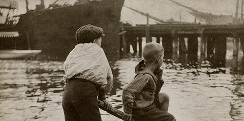 Harold Cazneaux Two boys on a raft 1905