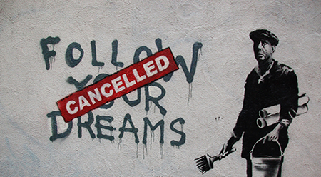 Banksy, Follow Your Dreams (Cancelled) - photo by Chris Devers