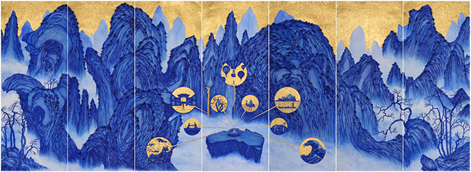 YAO Jui-chung, Yao's Journey to Australia. 2015, biro, blue ink with gold leaf on India handmade paper, 195 x 539 cm.
