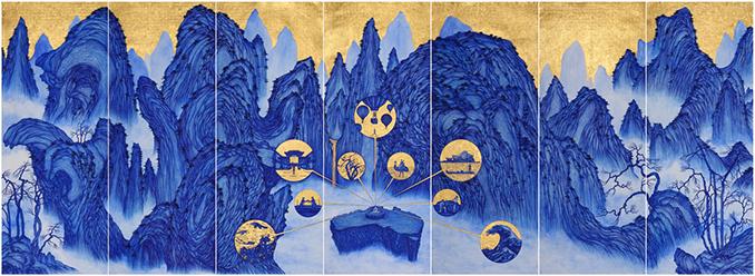 YAO Jui-chung, Yao's Journey to Australia. 2015, biro, blue ink with gold leaf on India handmade paper, 195 x 539 cm.
