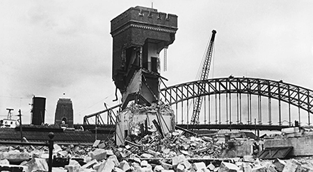 Demolition of the tram shed at Bennelong Point, Fairfax Media 30 December 1958. Fairfax Syndication FXJ171876 (c)