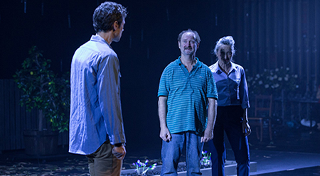 Tim Walter (Mark), Paul Blackwell (Bob), and Eugenia Fragos (Fran) in the global premiere of Andrew Bovell's new play Things I Know To Be True Photograph: Shane Reid