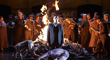 Saimir Pirgu as Shepherd, the Opera Australia Chorus and dancers in Opera Australia's King Roger - photo by Keith Saunders