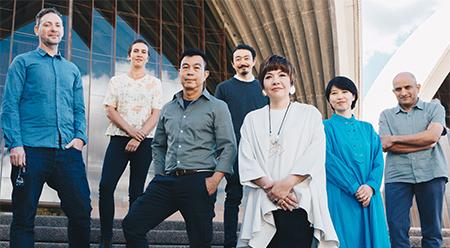 (Brook Andrew, Yasmin Smith, Hoy Cheong Wong, Koji Ryui, Mami Kataoka (21st Biennale of Sydney Artistic Director), Rika Noguchi, NS Harsha Photo: Catherine McElhone