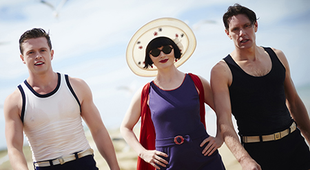 Hugo Johnstone-Burt, Essie Davis and Nathan Page in Miss Fisher's Murder Mysteries (2012) Every Cloud Productions