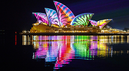Lighting of the Sails at Vivid Sydney by Audio Creatures - photo by James Horan