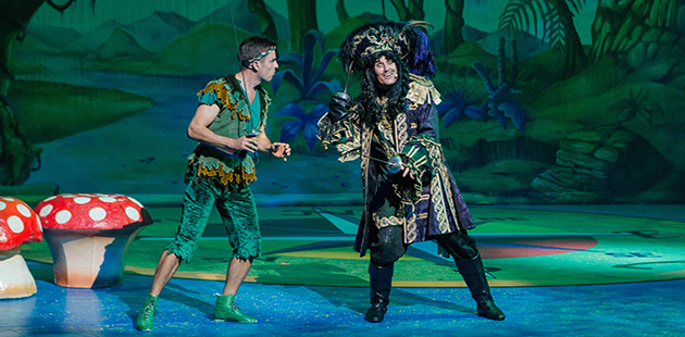 Tim Madden as Peter Pan and Todd McKenney as Captain Hook - photo by Robert Catto
