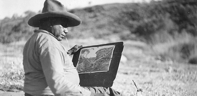 NGA M. Lockett, Albert Namatjira painting at Hermannsburg Mission, 1952 - State Library of South Australia, Adelaide