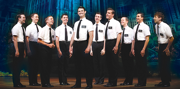 Ryan Bondy, A.J. Holmes and the Original Australian Cast of The Book of Mormon - photo by Jeff Busby