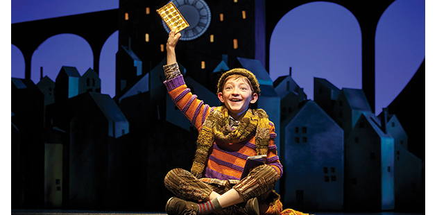 Ryan Foust as Charlie in Charlie and the Chocolate Factory (Original Broadway Cast 2017) - photo by Joan Marcus