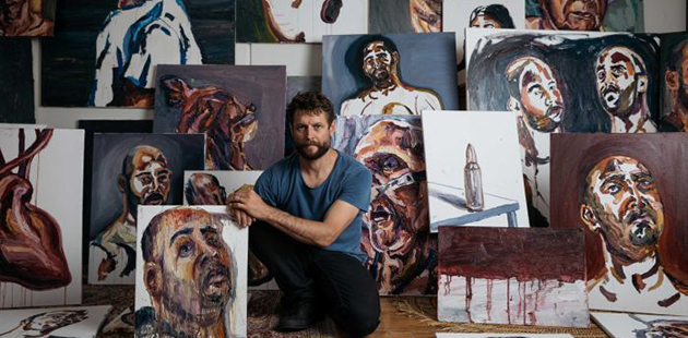 BAG Ben Quilty with Myuran Sukumaran's paintings - photo by Daniel Boud