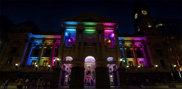 Melbourne Town Hall Rainbow Lights