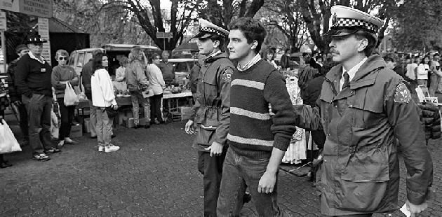 AAR Rodney Croome arrested at the Salamanca Market in 1988 - photo by Roger Lovell