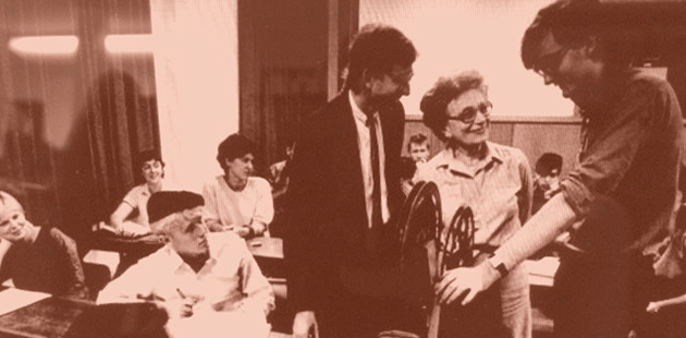 University of Sydney Power Institute Edward Colless, Madame Gre and Alan Cholodenko in class at the RC Mills Building (1983)