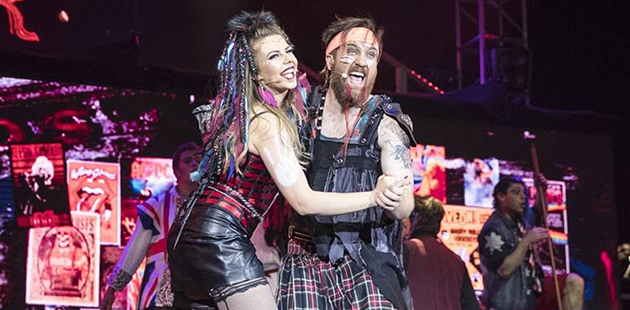 Samantha Marceddo (Oz) and Dave Smith (Brit) in We Will Rock You - photo by Ben Appleton