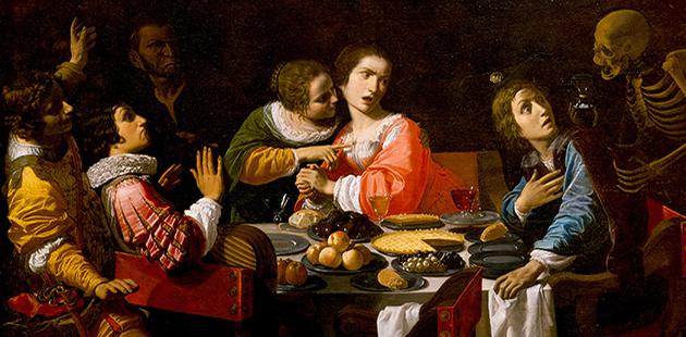 AH18 Giovanni Martinelli, Death Comes to the Banquet Table (Memento Mori), Circa 1635