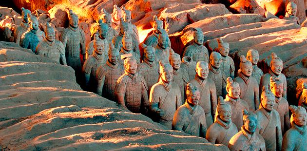 The terracotta army,Qin dynasty (221-206 BCE) (detail). Earthenware (terracotta). Emperor Qin Shi Huang's Mausoleum, Xi'an