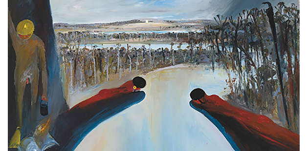 Arthur Boyd, Hanging rocks with bathers and Mars, c. 1985 (detail). Oil on canvas. Bundanon Trust Collection