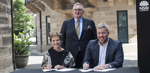 Carolyn Fletcher AM, (National Art School Chair), Don Harwin (NSW Arts Minister) and Craig Limkin (Create NSW)