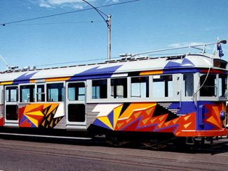 Lesley Dumbrell painted tram, 1986 - courtesy of Public Office Record Victoria