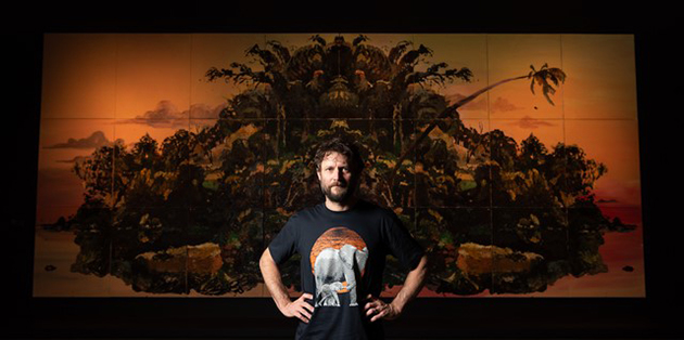 Ben Quilty in front of Fairy Bower Rorschach