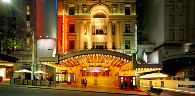 Melbourne's Regent Theatre at night - photo by Dianna Snape