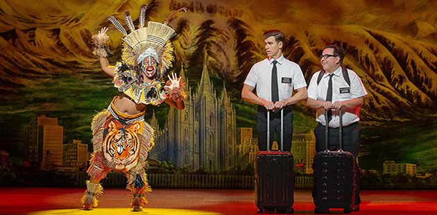 The Book of Mormon Shauntelle Benjamin, Blake Bowden and Nyk Bielak - photo by Jeff Busby