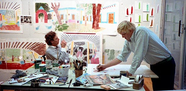 David Hockney works on a preparatory sketch for An image of Gregory in the Tyler Graphics studio, October 1984