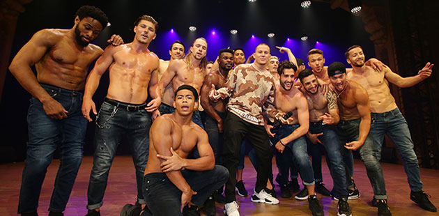 Channing Tatum (centre) with dancers from Magic Mike Live - photo by Andrew Tauber Photography