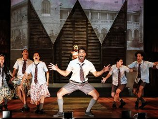 OA Marcus Corowa as Willie and the ensemble in the Opera Conference production of Bran Nue Dae - photo by Prudence Upton