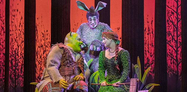 Shrek The Musical Ben Mingay, Nat Jobe and Lucy Durack - photo by Brian Geach