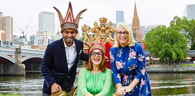 Moomba Monarchs 2020 Nazeem Hussain, Julia Morris and Lord Mayor Sally Capp