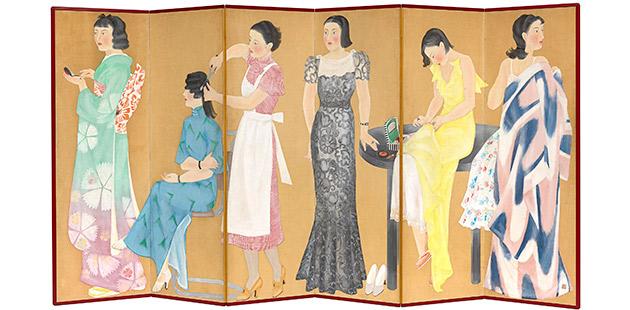 Taniguchi Fumie, Women preparing for a party (Yosoo hitobito), 1935