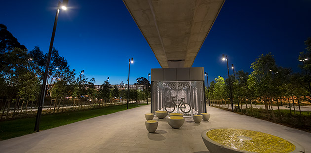 Public art at Kellyville Station on the Metro North West Line - courtesy of Create NSW