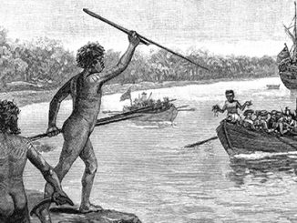 TC Two Dharawal men opposing Cook's arrival at Kurnell. Wikimedia