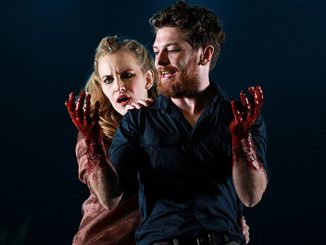 Kate Mulvany and Dan Spielman in Bell Shakespeare's production of Macbeth at the Sydney Opera House (2012) - photo by James Rush