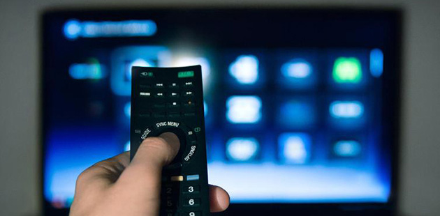 TV screen with remote